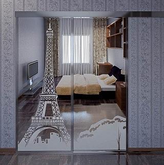 фото двери купе с пескоструйным рисунком